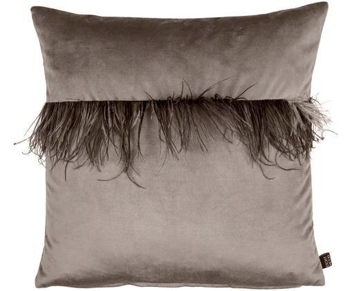 Poduszka z aksamitu Joselyn, Tapicerka: aksamit poliestrowy, piór, Ciemny taupe, S 50 x D 50 cm