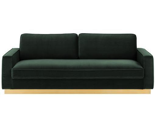 Sofa z aksamitu Chelsea (3-osobowa), Tapicerka: aksamit (wysokiej jakości, Stelaż: masywne drewno świerkowe, Stelaż: metal powlekany, Ciemnyzielony, S 228 x G 100 cm