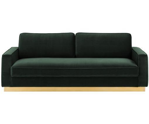 Samt-Sofa Chelsea (3-Sitzer), Bezug: Samt (Hochwertiger Polyes, Gestell: Massives Fichtenholz, Rahmen: Metall, beschichtet, Dunkelgrün, B 228 x T 100 cm