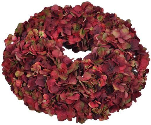 Couronne de fleurs d'hortensia artificielles Malwina, Tons rouges, vert