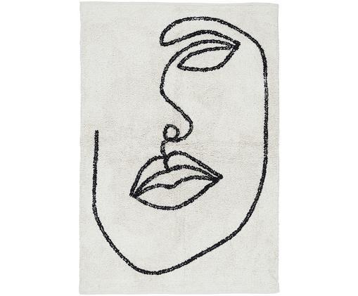 Baumwollteppich Visage mit abstrakter One Line Zeichnung, Bio-Baumwolle, Gebrochenes Weiß, Schwarz, B 90 x L 120 cm (Größe XS)