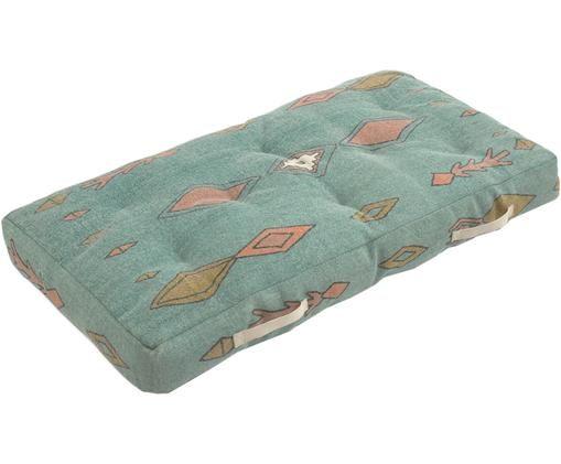 Duża poduszka podłogowa Danza, Niebieski, musztardowy, blady różowy, S 60 x D 120 cm