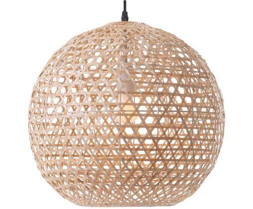 Hanglamp Hunter, Lampenkap: bamboehout, Baldakijn: kunststof, Lichtbruin, Ø 40 x H 37 cm