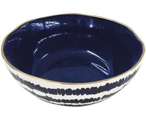 Insalatiera Masai, Gres, Blu, bianco latteo , bordo: dorato, Ø 27 x Alt. 11 cm