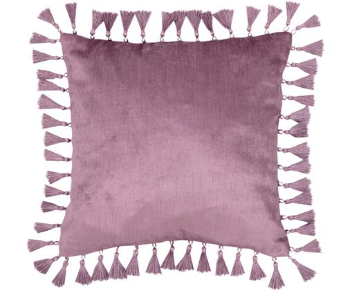 Federa arredo in velluto Georgina, lucida, Retro: 100% cotone, Rosa scuro, Larg. 40 x Lung. 40 cm
