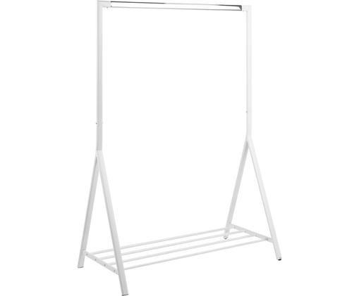 Weiße Kleiderstange Brent mit Ablagefläche, Metall, beschichtet, Weiß, B 117 x T 59 cm
