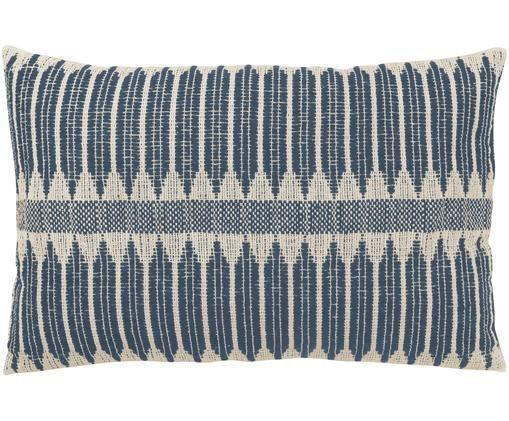 Cuscino fatto a mano Aztec in stile boho, con imbottitura, Rivestimento: cotone, Blu scuro, crema, Larg.40 x Lung. 60 cm