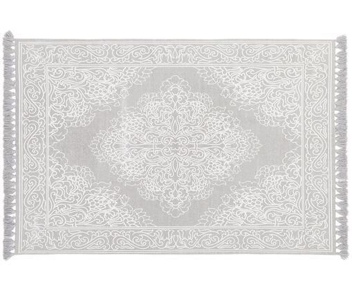 Vzorovaný bavlněný koberec Salima se střapci, ručně tkaný, Světle šedá, krémově bílá