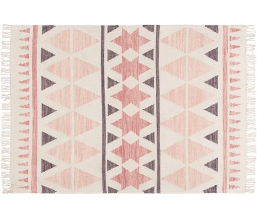 Handgeweven wollen vloerkleed Billund, Bovenzijde: 90% wol, 10% katoen, Onderzijde: 90% wol, 10% katoen, Roze, crèmekleurig, donkergrijs, 120 x 180 cm