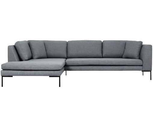 Ecksofa Emma, Bezug: Polyester 100.000 Scheuer, Gestell: Massives Kiefernholz, Füße: Metall, pulverbeschichtet, Grau, B 302 x T 220 cm
