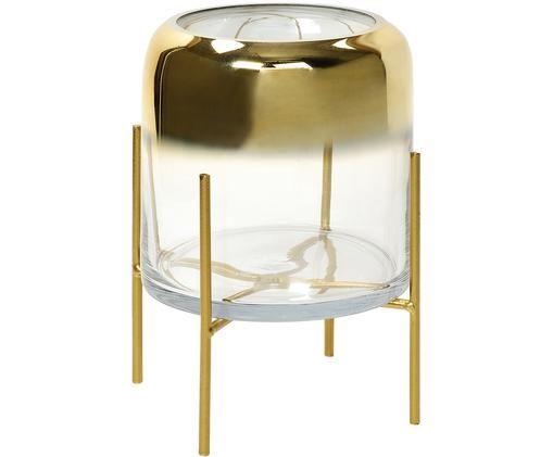 Świecznik Ter, Stelaż: metal powlekany, Odcienie złotego, transparentny, Ø 18 x W 22 cm