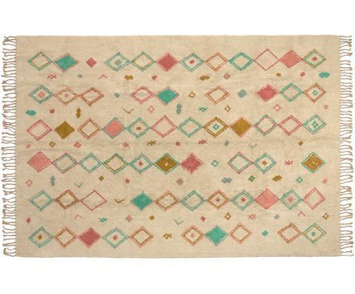 Tappeto in cotone con frange Olimpia, Cotone, Beige, verde menta, rosa, giallo senape, Larg. 200 x Lung. 300 cm (taglia L)