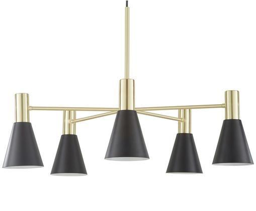 Lampa wisząca Sia, Klosz: czarny, matowy Osłona mocowania sufitowego i stelaż lampy: mosiądz, szczo, Ø 75 cm
