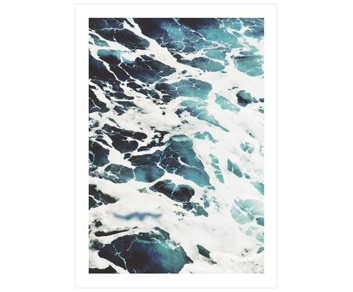 Poster Breeze, Digitaldruck auf Papier, matt  (180 g/m²), Weiß, Blautöne, 21 x 30 cm