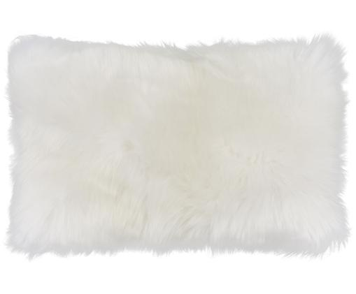 Federa arredo in pelliccia di pecora Oslo, Retro: lino, Fronte: avorio Retro: avorio, Larg. 30 x Lung. 50 cm