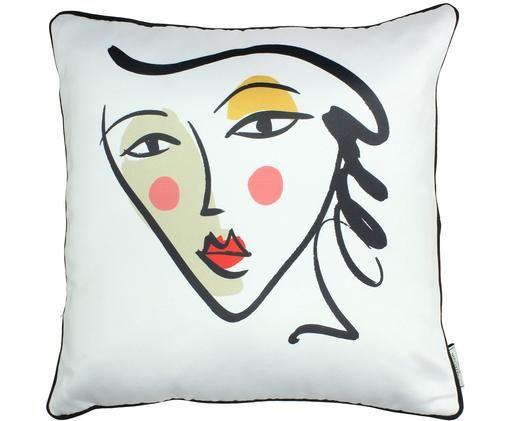 Cuscino con disegno astratto e imbottitura Face, Poliestere, Bianco, multicolore, Larg. 45 x Lung. 45 cm