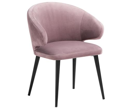 Chaise moderne en velours et à accoudoirs Celia, Vieux rose