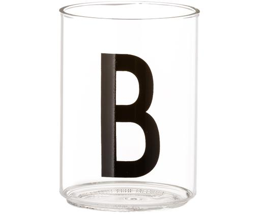 Vasos con letra Personal (variantes de A a Z), Vidrio de borosilicato, Transparente, negro, Vaso B