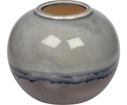 Kleine Vase Rumble aus Steingut, Steingut, Grautöne, Blau, Ø 15 x H 13 cm