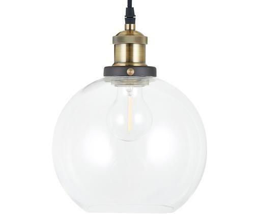 Hanglamp New York Loft, Baldakijn: gepoedercoat metaal, Lampenkap: glas, Messingkleurig, transparant, Ø 20 x H 25 cm