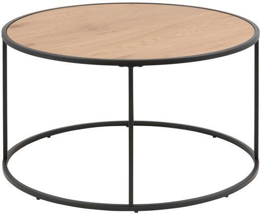 Table basse ronde Seaford, Bois de chêne sauvage, noir