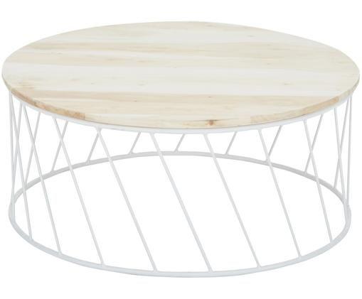Tavolino da caffè Emma, Legno di acacia, bianco