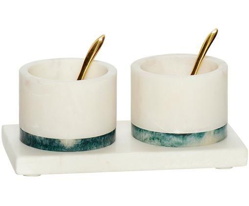 Set ciotoline in marmo 5 pz, Strisce: resina, Cucchiaio: ottone, Ciotola: bianca marmorizzata con una striscia verde Cucchiaio: ottone, Diverse dimensioni