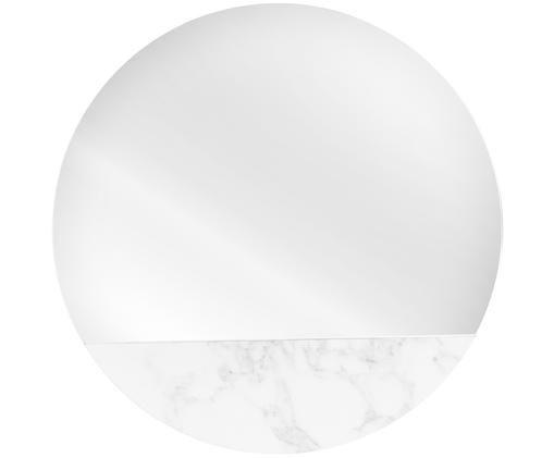 Specchio da parete Stockholm, Cornice: melamina, Superficie dello specchio: lastra di vetro, Retro: pannello di fibra a media, Bianco marmorizzato, Ø 40 cm