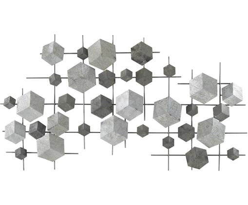 Wandobjekt Eos, Metall, lackiert, Grau, 92 x 50 cm