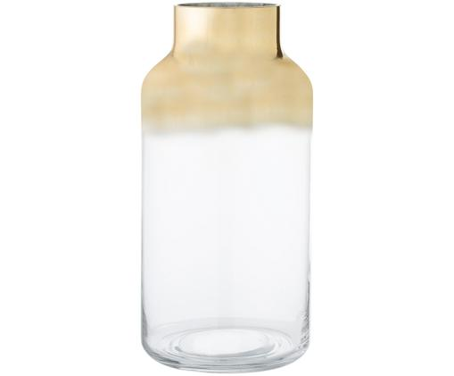 Mondgeblazen vaas Julie, Glas, Goudkleurig, transparant, Ø 16 x H 35 cm