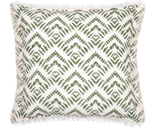 Cuscino fantasia con imbottitura Sudda, Cotone, Bianco latteo, verde, Larg. 45 x Lung. 45 cm