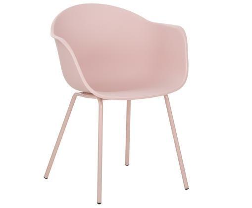 Chaise à accoudoirs en plastique Claire, Rose