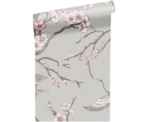 Carta da parati Japanese Flowers, Tessuto non tessuto, Grigio, rosa, taupe, Larg. 52 x Lung. 1005 cm