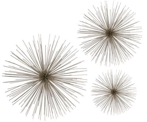 Wandobjekt-Set Flowers, 3-tlg., Metall, lackiert, Chromfarben, Sondergrößen