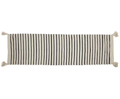 Passatoia Tassel, Vello: cotone, Retro: cotone, Crema, nero, Larg. 70 x Lung. 240 cm