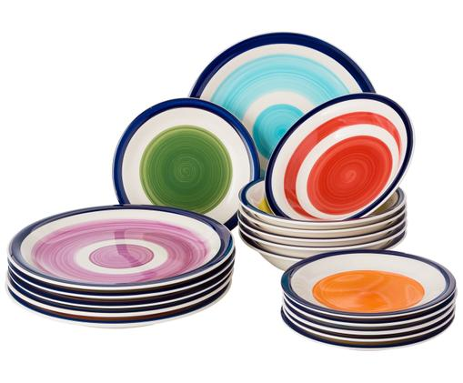 Servizio piatti in porcellana Sardinia, set di 18, Gres, Multicolore, Diverse dimensioni