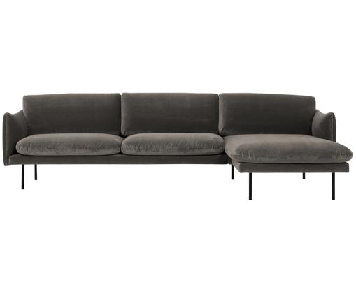 Sofa narożna z aksamitu Moby, Tapicerka: aksamit (wysokiej jakości, Stelaż: lite drewno sosnowe, Nogi: metal malowany proszkowo, Brązowy, S 280 x G 160 cm