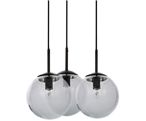 Suspension en verre Edie, Gris, noir