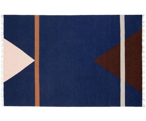 Tapis en laine tissé à la main Sharp, Bleu foncé, beige, brun, orange