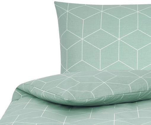 Renforcé-Bettwäsche Lynn mit grafischem Muster, Webart: Renforcé, Mint, Cremeweiß, 155 x 220 cm