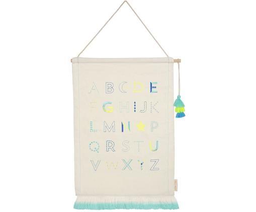 Nástěnná dekorace Alphabet, Béžová, odstíny modré, žlutá