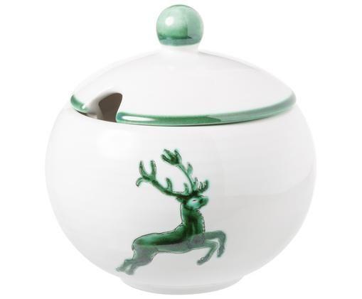 Zuckerdose Classic Grüner Hirsch, Keramik, Weiß, Ø 10 cm