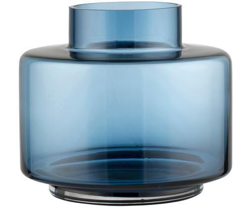 Jarrón de vidrio soplado Hedria, pequeño, Vidrio, Azul, Ø 18 x Al 16 cm