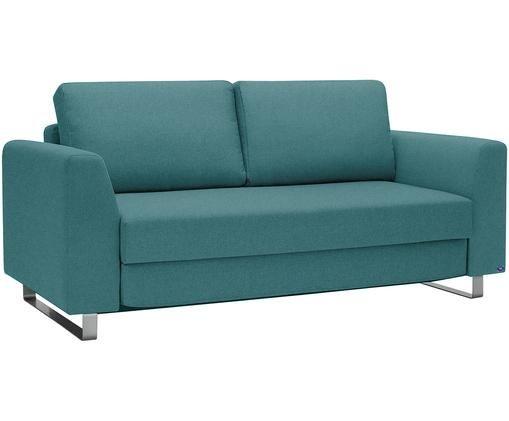 Schlafsofa Bruno (3-Sitzer), Bezug: Pflegeleichtes robustes P, Rahmen: Massivholz, Füße: Gebürstetes Metall oder B, Türkis, B 200 x T 84 cm