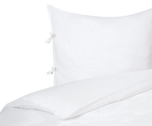 Leinen-Bettwäsche Maria, 52% Leinen, 48% Baumwolle Mit Stonewash-Effekt für einen weichen Griff, Weiss, 155 x 220 cm