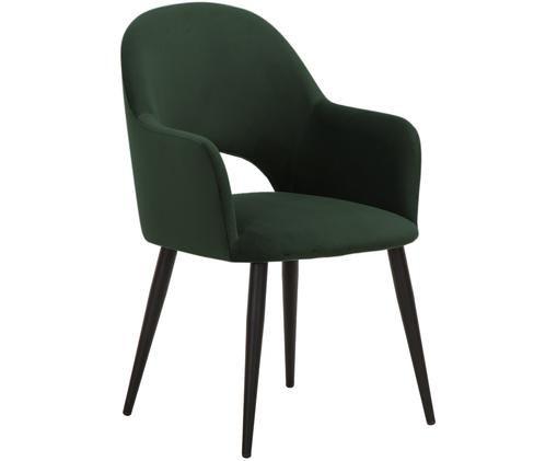 Chaise en velours à accoudoirs Rachel, Revêtement: vert foncé Pieds: noir, mat