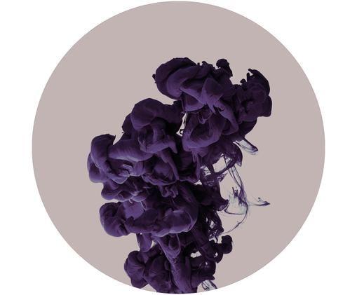 Stampa digitale su legno Ink Drop Purple, Pannelli di fibra a media densità (MDF), stampata, Beige, lilla, Ø 40 cm