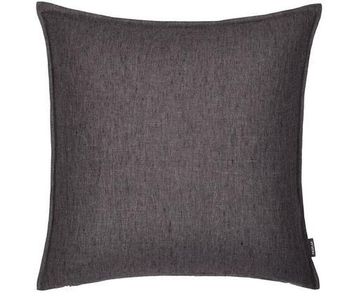 Poszewka na poduszkę z lnu z efektem sprania Sven, Len, Antracytowy, S 50 x D 50 cm