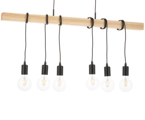 Lampada a sospensione Townshed, Nero, legno naturale, L 100 x A 110 cm