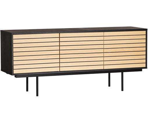 Dressoir Stripe met eikenhoutfineer, Frame: MDF met eikenhoutfineer, Poten: gepoedercoat metaal, Eikenhoutkleurig, zwart, 161 x 70 cm